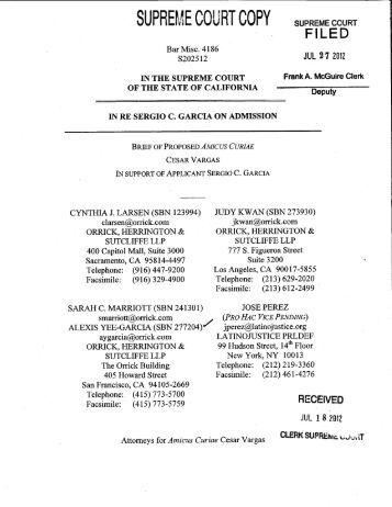 Amicus Curiae Brief of Cesar Vargas - California Courts - State of ...