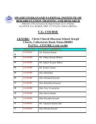Patna Centre. - National Institute of Rehabilitation Training and ...