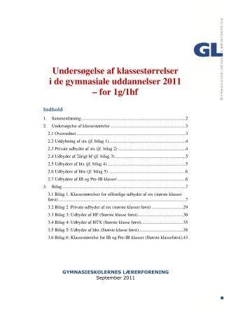 Undersøgelse af klassestørrelser 2011 - Gymnasieskolernes ...