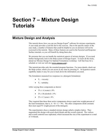 Mixture Design Tutorials - Statease.info