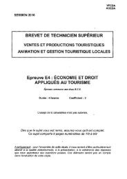 BREVET DE TECHNICIEN SUPÉRIEUR Epreuve E4 ... - Bts Tourisme