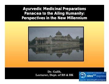 Ayurvedic Medicinal Preparations Panacea to ... - Techno Ayurveda