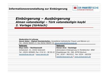 Einbürgerung – Ausbürgerung Alman vatandasligi – Türk ...