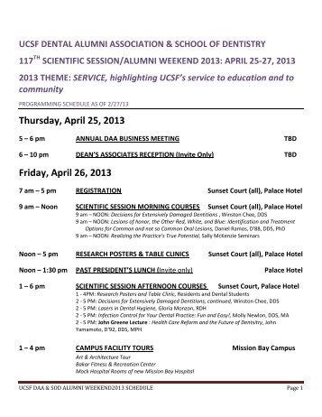 Thursday, April 25, 2013 Friday, April 26, 2013 - UCSF Alumni
