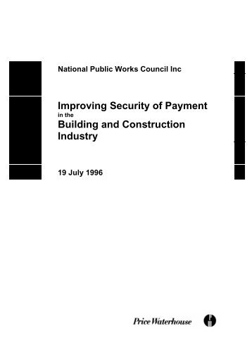 Improving Security of Payment Building and Construction Industry