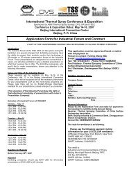 Application Form for Industrial Forum and Contract - ASM International
