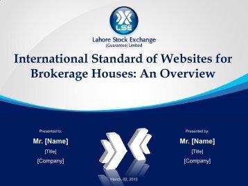 International Standard of Websites for Brokerage Houses