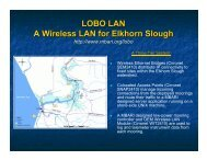 LOBO LAN A Wireless LAN for Elkhorn Slough