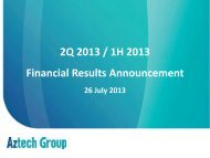 Presentation Slides - Aztech Group Ltd - Investor Relations