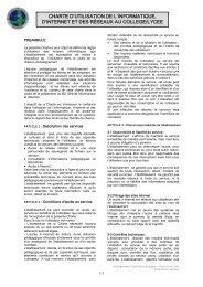 charte d'utilisation de l'informatique, d'internet et des réseaux au ...