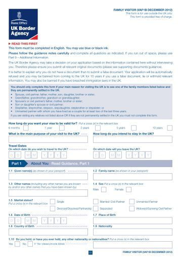 VAF1B application form - UK Border Agency - the Home Office