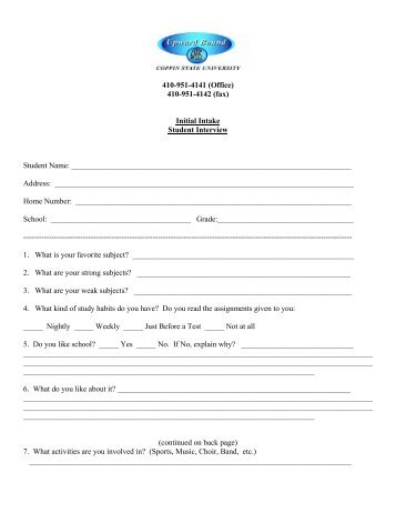 Student Initial Interview Form