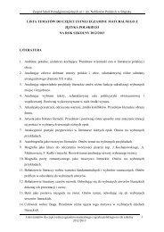 Lista tematów do części ustnej egzaminu maturalnego z