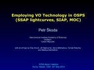 Employing VO Technology in OSPS (SSAP lightcurves, SIAP ... - IVOA