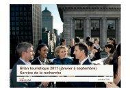 Bilan touristique 2011 (janvier à septembre) Service de la recherche