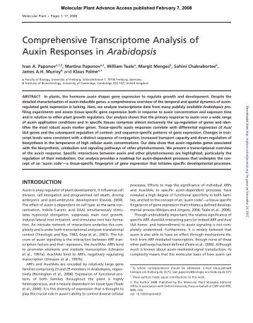 Comprehensive Transcriptome Analysis of Auxin ... - Molecular Plant