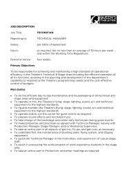 JOB DESCRIPTION Job Title: TECHNICIAN Reporting to ...