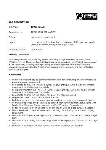 job description job title technician reporting to