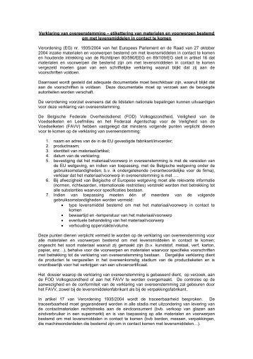 Verklaring van overeenstemming – etikettering van ... - FAVV
