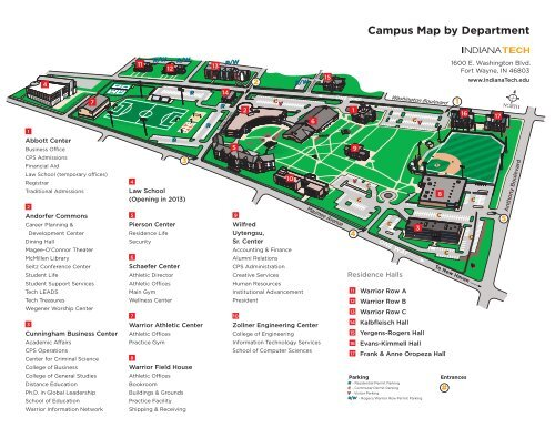 Campus Map By Department Indiana Tech