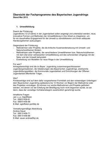 Übersicht der Fachprogramme des Bayerischen ... - JDAV Bayern