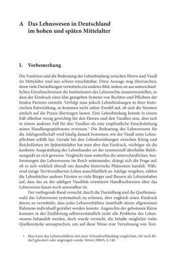 A Das Lehnswesen in Deutschland im hohen und späten Mittelalter