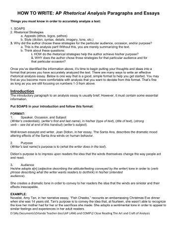 rhetorical analysis essay format