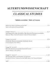 ALTERTUMSWISSENSCHAFT CLASSICAL STUDIES - Olms