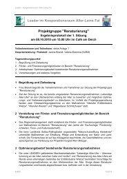 Leader im Kooperationsraum Aller-Leine-Tal Projektgruppe ...