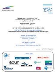 Programme Ile-de-France Le pari des marchandises - Apur