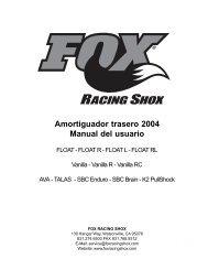Amortiguador trasero 2004 Manual del usuario - Fox