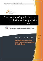 Co-operative Capital Units as a Solution to Co ... - Co-operatives WA