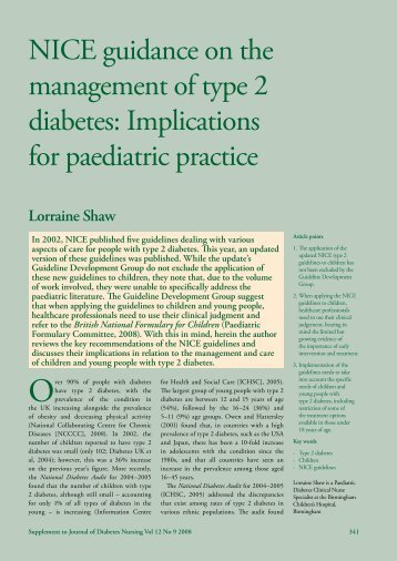 NICE guidance on the management of type 2 diabetes: Implications ...