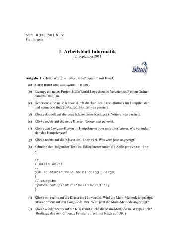 Arbeitsblatt Informatik - - ZAIK