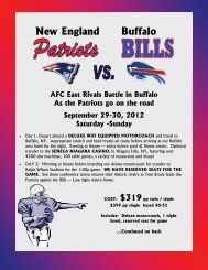 New England Buffalo AFC East Rivals Battle in ... - Friendship Tours