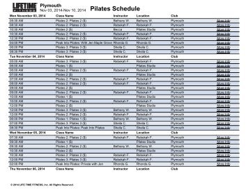 Pilates Schedule Plymouth Life Time Fitness Scheduling