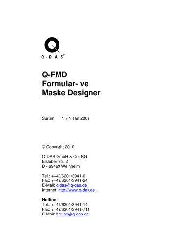 Q-FMD Formular- ve Maske Designer - Q-DAS