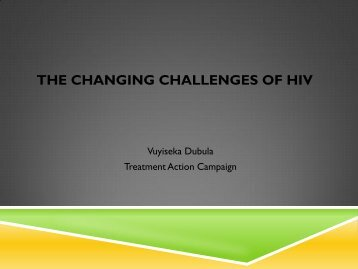 The changing challenges of HIV - UWC HIV/AIDS Portal