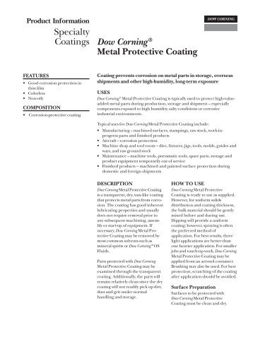 Dow Corning® Metal Protective Coating - FirstPower Group LLC