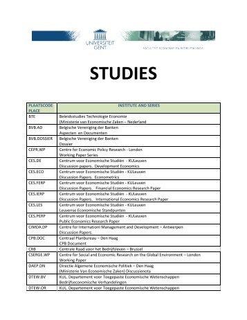 STUDIES - Faculteit Economie en Bedrijfskunde