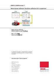 EMCO CAMConcept T Descrizione software Versione software 2.0 o ...
