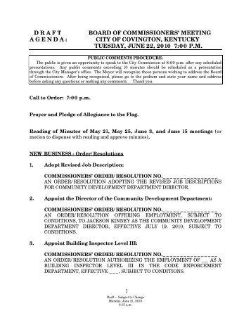 meeting agenda : city of covington, kentucky tuesday, june 22, 2010 ...