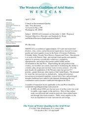WESTCAS letter to Mr. Terry Breyman