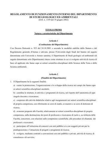 Regolamento Funzionamento DSGA - Università del Sannio