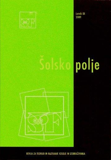 Šolsko polje, letnik XX, številke 1-6, 2009 - Pedagoški inštitut