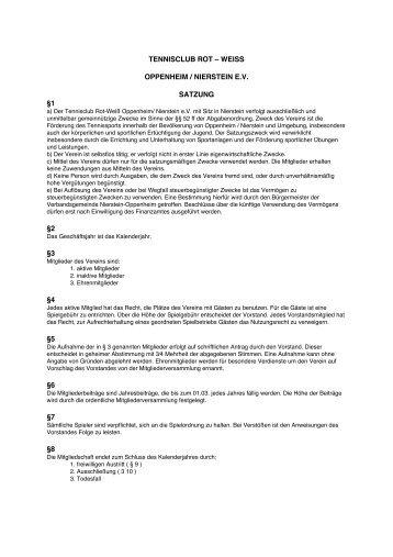 Satzung - Tennisclub Rot-Weiß Oppenheim/Nierstein eV