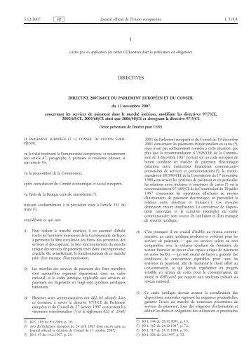 directive 2007/64/CE sur les - EUR-Lex