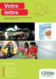 Lettre aux actionnaires n° 14 - septembre 2011 - Groupe Casino