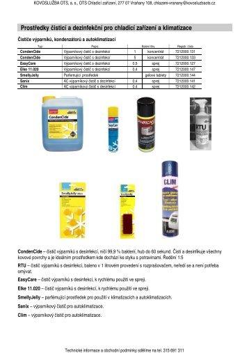 Prostředky čisticí a dezinfekční pro chladicí zařízení a klimatizace