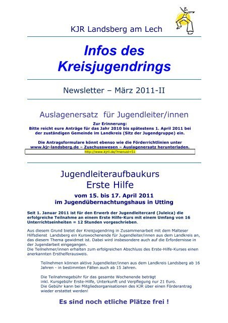 Infos des Kreisjugendrings - Kreisjugendring Landsberg am Lech